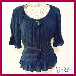 Cotton Navy Blue Blouse